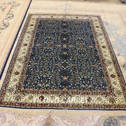 Yilong 4.5'x6.5' Blue Oriental Handmade Area Carpets Hand Knotted Silk Rugs 204a