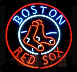 Boston Red Sox Neon Light Sign 12x12 Wall Decor Lamp Display Man Cave Glass
