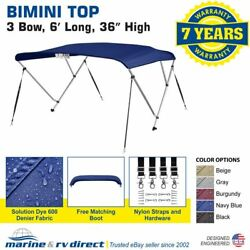 Bimini Top Boat Cover 36 High 3 Bow 6and039 Ft. L X 67 - 72 W Navy Blue