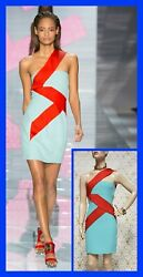S/s 2015 Look 34 New Versace Blue And Red Silk-cady Mini Dress 38 - 2