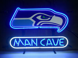 Seattle Seahawks Man Cave Neon Sign 20x16 Light Lamp Beer Bar Decor Real Glass