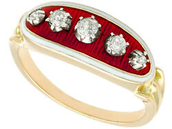Antique 0.31 Ct Diamond And Enamel 18k Yellow Gold Dress Ring Size 6.75