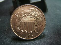 1867 Red Gem 2 Cent Bronze Lovely Fiery Coin With Razor Strike Newps