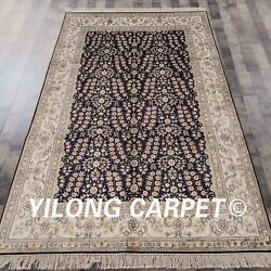 Yilong 5'x8' All Over Pattern Handmade Antique Silk Rug Hand Knotted Carpet 454b