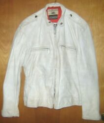 Original Vintage 50's 60's Motorcycle Jacket White Leather Buco Herm's Togs