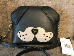 NEW! Betsey Johnson Dog Face Cross Body Purse Handbag Puppy Doggy Black Tan $68 $39.77