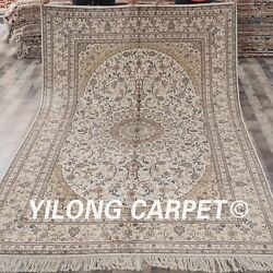 Yilong 6and039x9 Beige Hand Knotted Area Rug Great Bedroom Handmade Silk Carpet 036b