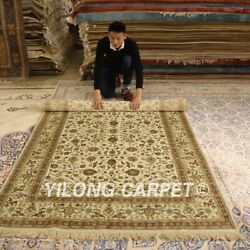 Yilong 5'x8' Beige Handmade Silk Area Rug Antique Hand Knotted Home Carpets 010b