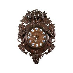 Ornately Carved Swiss Wall Clock Late 1800's