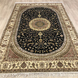 Yilong 6and039x9and039 Blue Hand Knotted Area Rugs Home Decor Oriental Silk Carpets 486c