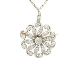 Antique 1880s 1.79ct Diamond and 9ct Yellow Gold Pendant  Brooch