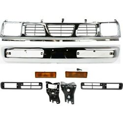 Auto Body Repair Grille Bumper For 97 Nissan Pickup Kit Of 8