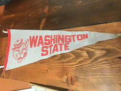 Vintage Washington State University Cougars Ncaa Pennant - Classic- Gray / Red