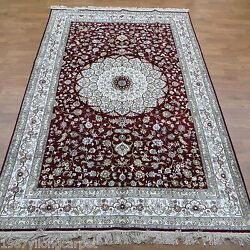 Yilong 6and039x9and039 Red Traditional Medallion Hand Knotted Area Rugs Silk Carpets 316b