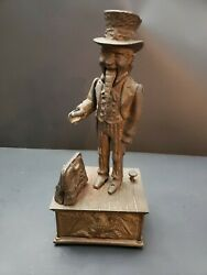 Vintage 11 High Uncle Sam Metal Mechanical Bank, Tested And Works Great.