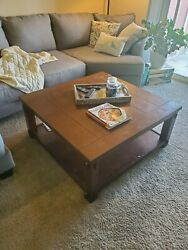 40x40x19 Dark Brown Wooden Square Coffee Table Light Wear And Tearsee Pictures