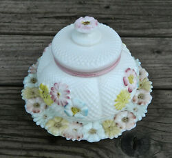 Antique Cosmos Pattern Hd. Ptd Milk Glass Butter Dish By Consolidated Lamp Co