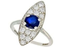 Antique 1.02 Ct Sapphire And 0.84 Ct Diamond 18k White Gold Dress Ring