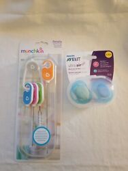 Munchkin Bottle And Cup Cleaning Brush 4 Piece Set And 2 Pacifier Set And Case
