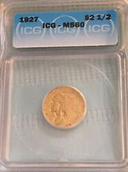 1927 2.5 Indian Head Gold, Icg Ms60