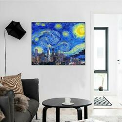 Seattle City View Space Needle Starry Night Canvas Print Wall Art Home Decor