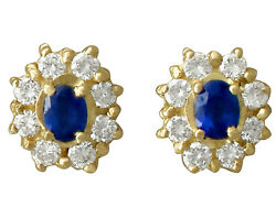 Vintage Sapphire And Diamond 18k Yellow Gold Cluster Earrings 1980s