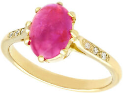 2.68 Ct Star Ruby And Diamond In 14k Yellow Gold 1950s Size 6.25