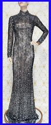JOVANI COUTURE SHEER LACE BEADED ILLUSION HALTER WORN by NATALIE COLE 38 - 2