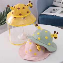 Kids Anti Spitting Protective Hat with Safety Face Shield Removable For Outdoor