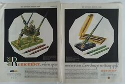 1931 Eversharp Doric Fountain Pen And Pencil Set Vintage Two Page Original Ad