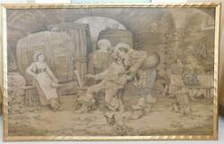 Large Museum Quality Antique Tapestry Wine Cellar Kegs Girl Musician Artist Cat