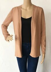 Cable and Gauge Women's Size Small Camel Brown Long Sleeve Open Cardigan NWT $58