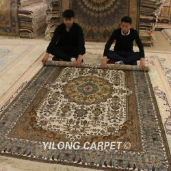 Yilong 6and039x9and039 Floral Handmade Silk Classic Carpet Origin Hand Craft Area Rug 055m