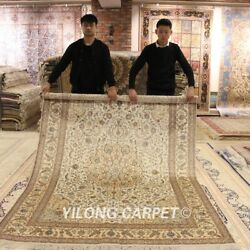 Yilong 6and039x9and039 Antique Hand Knotted Medallion Carpet Handmade Silk Area Rug J08b