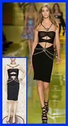 S/s 2014 Look 22 New Versace Black Dress With Silver Medusa And Chains 38 - 4