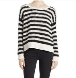 Free People Beach Striped Sweater Oversized Size XS Pullover Round Neck Chunky $29.99