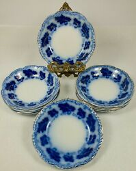 10 Johnson Brothers Antique Flow Blue China Normandy 5 Sauce / Dessert Dishes