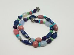 Carolyn Pollack Multi Gemstone Beaded Necklace Sterling Silver Magnetic Clasp