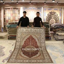 Yilong 5'x8' Red Handmade Silk Home Carpet Antique Hand Knotted Area Rug Y435b