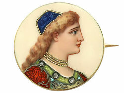 Antique French Enamel And 18k Yellow Gold Brooch