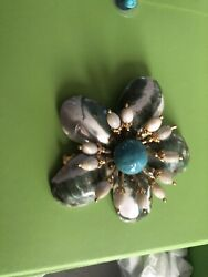 Large Vintage William Delillo Turquoise Shell Pin Brooch
