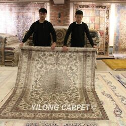 Yilong 6and039x9and039 Ivory Hand Knotted Carpet Dining Room Handmade Silk Area Rugs Y81b
