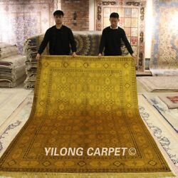 Yilong 6and039x9and039 Golden Handmade Classic Silk Area Rug Floor Hand Woven Carpet G48ab