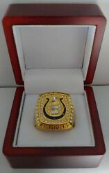 Peyton Manning - 2006 Indianapolis Colts Super Bowl Gold Color Ring W Wooden Box
