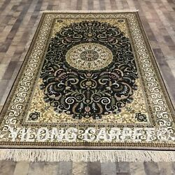 Yilong 5and039x8and039 Medallion Handmade Silk Carpet Oriental Hand Knotted Area Rug L144a