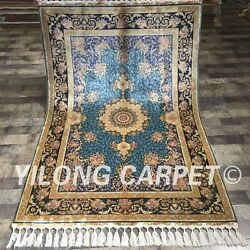 Yilong 4and039x6and039 Nice Blue Handmade Area Rug Exquisite Hand Knotted Silk Carpet 062a