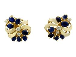 Vintage 2.25 Ct Sapphire And 0.26 Ct Diamond 14k Yellow Gold Stud Earrings