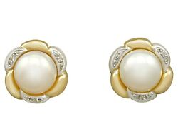 Vintage Mabe Pearl And 0.18ct Diamond 18k Yellow Gold Earrings Circa 1980
