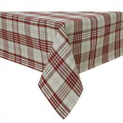 Peppermint Plaid Table Cloth Country Christmas Farmhouse Kitchen Dining 60x84
