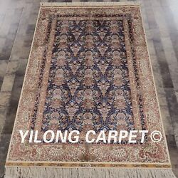 Yilong 4and039x6and039 Fine Blue Handmade Carpet Oriental Hand Knotted Silk Area Rug Zz039